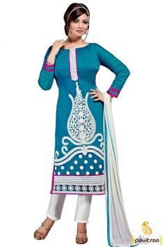 Aqua blue white santoon celebrity salwar suit is very fascinating and worked with embroidery. Buy this famous bollywood actress salwar kameez from women cloth online shopping store. #salwarsuit, #bollywoodsawarkameez more: http://www.pavitraa.in/store/ayesha-takia-salwar-kameez/
