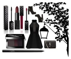 """""""Gothic...?"""" by whimisical76 ❤ liked on Polyvore featuring moda, Steve Madden, Yves Saint Laurent, Gucci, NARS Cosmetics e Bobbi Brown Cosmetics"""