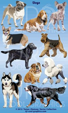 Dogs  Vector Clip Art by CleverVectors on Etsy, $3.95