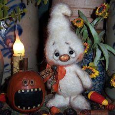 "Primitive Halloween Ghost Bear 6"" Doll Antique Key Vtg Patti's Ratties Monster"
