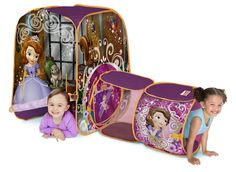 Playhut Sofia Discovery Hut Tent. Patented Twist ' N Fold Technology allows for instant set-up and easy storage. Front panel opens up for easy entrance. Adjustable tunnels allow kids to crawl in and out. Created with durable, soft and colorful materials. Ideal for children ages 3 and older.