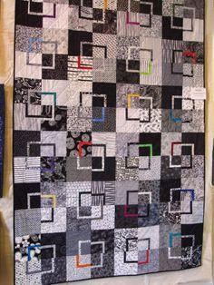 Patchwork Moderne Noir Et Blanc Ideas For 2019 Neutral Quilt, Grey Quilt, Black Quilt, Black And White Quilts, Black White, Modern Quilt Patterns, Modern Quilting, Man Quilt, Crazy Patchwork