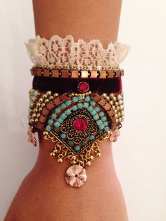 Boho romantic Bracelet  -turquoise rainstone with maroon velvet sith llace and and gold plsted plowers-hand made one of a kind. by RachelGefenDesigns on Etsy