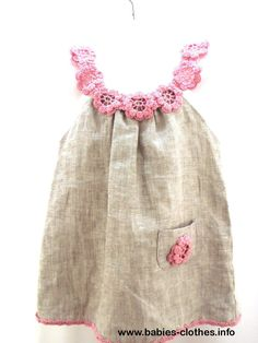 Linen organic flower dress / tunic crochet / sew   for the baby / toddlers / girl of any size - http://www.babies-clothes.info/linen-organic-flower-dress-tunic-crochet-sew-for-the-baby-toddlers-girl-of-any-size.html