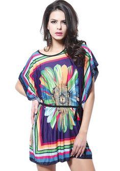 ecb1f4d2c404 Casual Purple Chrysanthemum Print Belt Dress