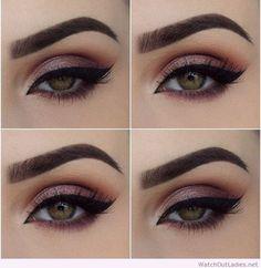 #Pink eye makeup, black eyeline and green eyes