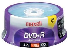 16X Write-Once dvd+R Spindle - 25 Disc Spindle by Maxell. $38.18. Maxell 4.7 Gb DVD+R 16X25 Spindle 25 Spindle
