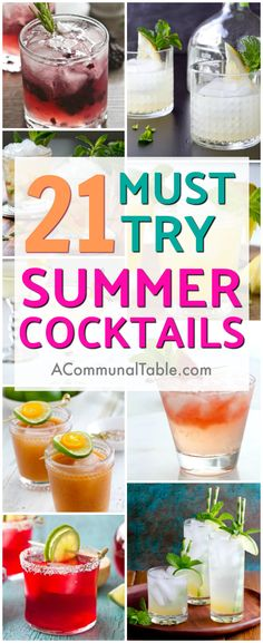 Start your summer off right with these 21 Must-Try Summer Cocktails! These summer drinks (like Spiced Ginger Rum Fizz, Tamarind Margarita Cocktail, and Ruby Red Moscow Mule) will make the perfect addition to your summer cocktail line-up! #cocktails #cocktailrecipe #drinks #drinkrecipes #summercocktails