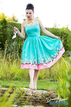 Chelsea Pin Up Dress in Turquoise New Years Eve Party Print