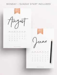 Rose Gold 2017 Calendar, 13 Pages | Created by @IndigoPrintables Monday and Sunday Start Included :::::::::::: WHAT'S INCLUDED :::::::::::: Your Printable Planner comes in A4, A5 and Letter size and contains: #1 PDF: 2016 Calendar Sunday Start (13 pages) #2 PDF: 2016 Calendar Monday Start (13 pages) #3 PDF: Printing Advice Sheet (1 page) Happy planning ♡ Indigo Printables