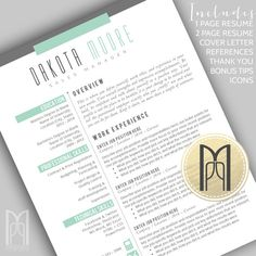 RESUME 4 PACK {No. 3 - MINT dakota moore}  Templates are FULLY CUSTOMIZABLE in MS Word or Apple Pages & as instant downloads IMMEDIATELY AVAILABLE
