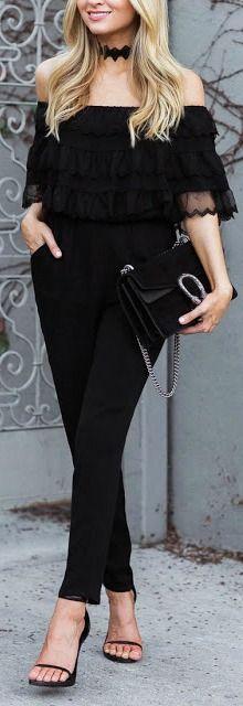 All black + off the shoulder.