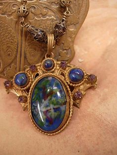 Art Nouveau Czech art glass and brass necklace by vintagesparkles, $245.00
