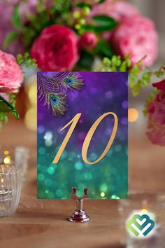 Peacock Wedding Table Numbers Purple Gold Wedding Decor Banquet Table Numbers Printable Table Numbers 1-10 Event Table Numbers Party Table