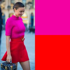 Colour Combinations Fashion, Color Combinations For Clothes, Color Blocking Outfits, Fashion Colours, Colorful Fashion, Classy Outfits, Pretty Outfits, Color Matching Clothes, Magenta