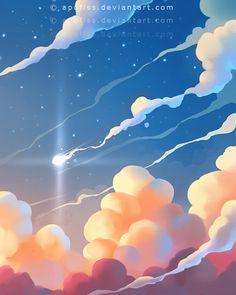 Explore the Illustrations, Comics, Storybook collection - the favourite images chosen by rohitanshu on DeviantArt. Art And Illustration, Illustrations, Fantasy Kunst, Fantasy Art, Desenhos Gravity Falls, Art Tumblr, Sky Art, Environment Concept Art, Anime Scenery
