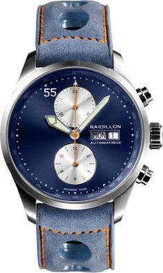 Raidillon Automatic 42-C10-084 jeans blue. The brand with the highlighted 55 min/sec indicator.