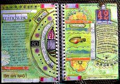 kim mailhot - art journal page  -- that half circle has me swooning!