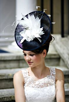 Victoria  Navy Blue & Ivory Feather Custom by MillineryByCarrie, £149.00