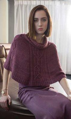 Tallinn Poncho Knitting Pattern - This design by Norah Gaughan is knit in the round in one piece from the top down, and features a bold center cable. Capelet Knitting Pattern, Knitting Machine Patterns, Poncho Shawl, Knitted Poncho, Fair Isle Knitting, Arm Knitting, Knitting Ideas, Ladies Poncho, Cashmere Poncho