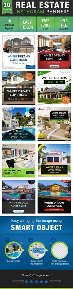 """Real Estate Instagram Design Template - Banners & Ads Web Elements Design Template PSD. Download here: <a href=""""https://graphicriver.net/item/real-estate-instagram-bundle/19100629?ref=yinkira"""" rel=""""nofollow"""" target=""""_blank"""">graphicriver.net/...</a>"""