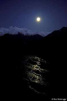 McKinley River in the moonlight, Denali National Park, Alaska