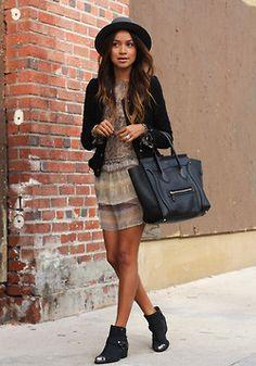 Dress:Funktional| Jacket: H | Boots:Pamela Love x Nine West| Hat:Janessa Leone| Bag: Celine(image:sincerelyjules)
