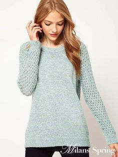 Hollow twist sweater pullover long sleeve sweater