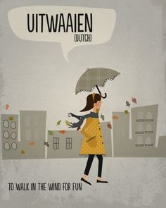 Uitwaaien from a series of illustrations featuring words that cannot be translated to English by Libby Burns