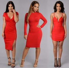 FashionNova | (Left To Right) Red Evelyn Dress + California Dreamin' Heels, Pamela Dress, Cassandra Dress + Sin Heels