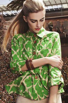 Diane Von Furstenberg Island Clover Print Jacket via @threadflip    #st.patrick #green #style #chic #fashion