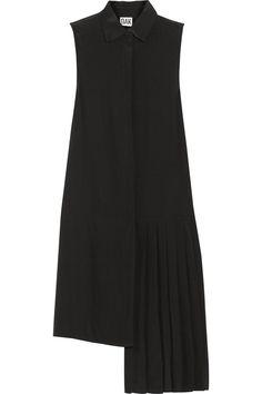 OAKAsymmetric stretch-silk shirt dress