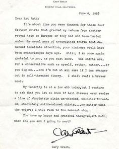Cary Grant to Art Roth