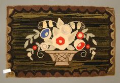 """19th c. floral hooked rug, 33"""" x 22"""", Copake Auction"""