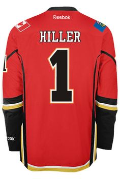 Calgary Flames Goalie Jonas HILLER #1 Official Home Reebok Premier Replica NHL Hockey Jersey (HAND SEWN CUSTOMIZATION)