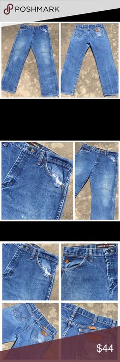 """WRANGLER FR """"Dirty"""" Distressed Denim Jeans 33 x 30 WRANGLER FR """"Dirty"""" Distressed Denim Jeans 33 x 30. Actual measurements are as follows – Waist line – 34 inches  Inseam – 30 inches   Please check pictures for distressed areas. These jeans are in excellent wearable condition. 042917–15 Wrangler Jeans Bootcut"""