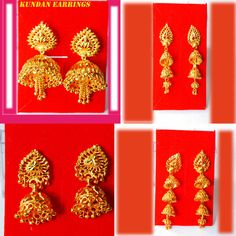 22k gold plated indian drop kundan earrings #KAPA #Goldfashionearrings