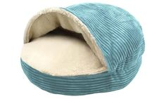 Round Corduroy Cave Pet Bed with Plush Sherpa Interior. Cave-style pet beds have a hooded cover with a plush shepra interior, creating a cozy area for your pet to cuddle up.