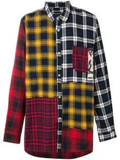 Perks And Mini Checked Patchwork Shirt - Farfetch Checked Shirt Outfit Women, Korean Fashion, Mens Fashion, Shirt Refashion, Mini, Check Shirt, Flannel Shirt, Custom Clothes, Madrid
