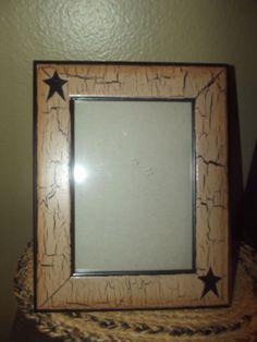 Primitive Crackle  Picture Frame 5x7~ Tan & Black Stars ~ Country Decor #NaivePrimitive