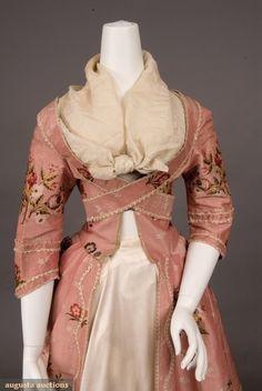 Pink silk brocade robe a la Francaise (1770-1780), from the Tasha Tudor Historic Costume Collection