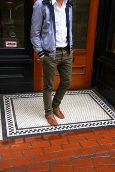 Olive green is a staple color for the fall season. Pair earth tones with a pair of olive chinos for a great look. Get some inspiration for this collection.