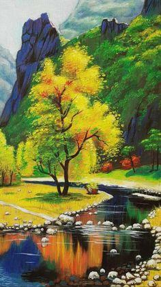Landscape Painting Images, Beautiful Landscape Paintings, Beautiful Landscape Wallpaper, Scenery Wallpaper, Landscape Pictures, Fantasy Landscape, Landscape Art, Landscape Photography, Water Colour Landscape