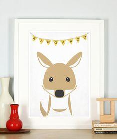 Affiche rétro, kangourou, vintage impression, photo de la pépinière, décoration murale, décor mural rétro, bébé mignon animal, Australie, Outback, A4 ou 8 x 10