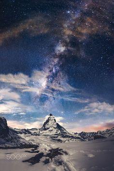 Matterhorn and Milky way Riffelberg, Zermatt, Switzerland