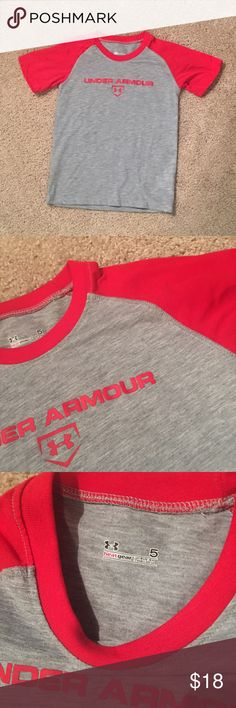 Under Armour boys Heat Gear sz: 5 NWOT Brand new, without tags boys UA heat gear shirt sz: 5. Red and heather grey in colors. No flaws as this is brand new ❤️ Under Armour Shirts & Tops Tees - Short Sleeve