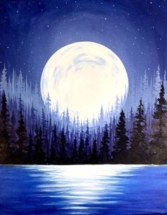 Painting the night sky starry sky full moon oil painting on canvas moon painting moonlight . - Painting of the night sky starry sky full moon oil painting on canvas moon painting moon light pain - Moon Painting, Painting & Drawing, Watercolor Paintings, Watercolor Moon, Lake Painting, Watercolor Artists, Watercolor Print, Acrylic Art, Acrylic Painting Canvas
