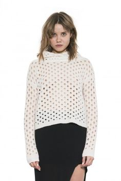 Dalia Pullover by one grey day- Boxy, perforated, with a collapsible funnel neck, Dalia is for trend-setters only. Funnel Neck, Turtle Neck, Pullover, Grey, Sweaters, Fall 2015, Shirts, Clothes, Shopping