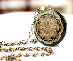 Green Locket Necklace Elegant Filigree Resin by MStevensonDesigns, $84.50