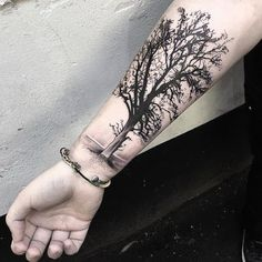 Tree Tattoo Design on Forearm.What a cool tattoo design idea! Love it very much! This will be my next tattoo design. via http://forcreativejuice.com/awesome-forearm-tattoo-designs/ #TattooIdeasForearm